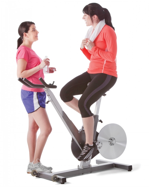 women talking in cardio room