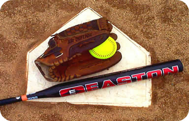 softball glove, ball, bat and plate