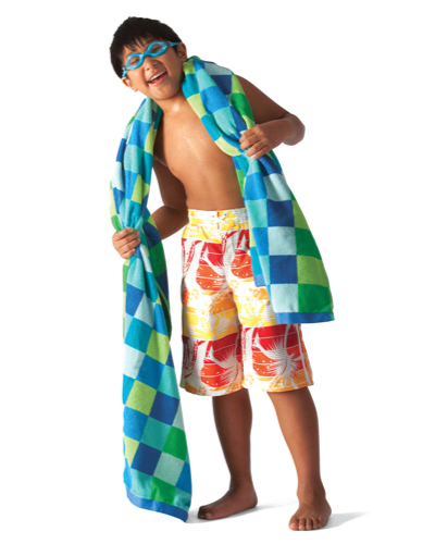 boy with swimming towel