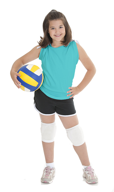 Girl holding a volleyball